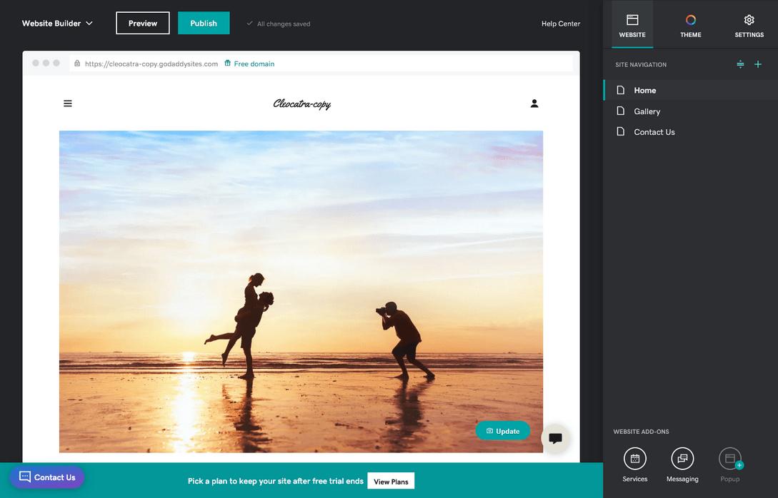 GoDaddy site editor