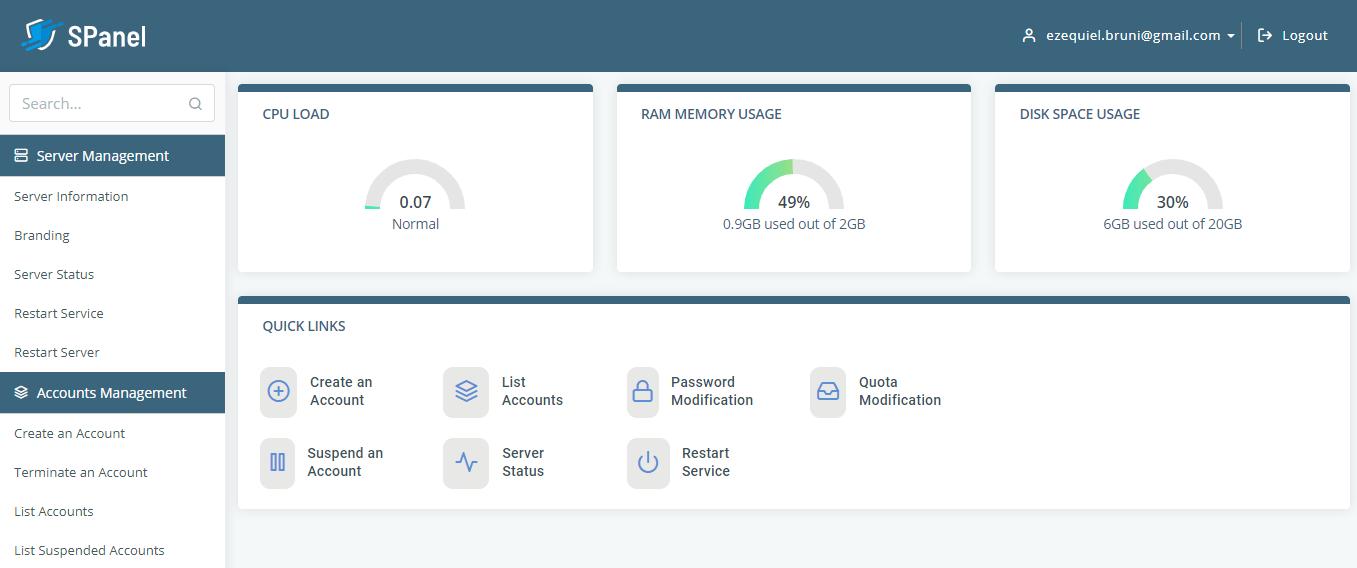 SPanel hosting management
