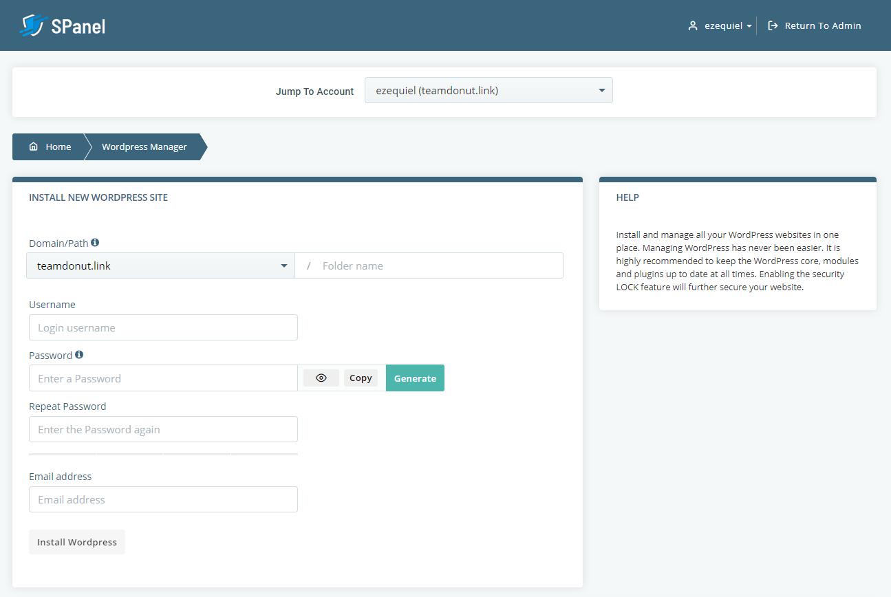 SPanel WordPress manager