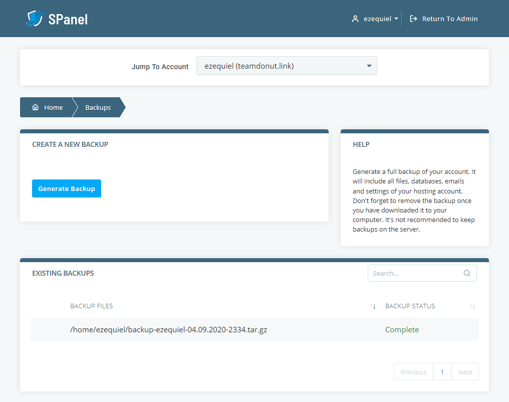 SPanel backup features