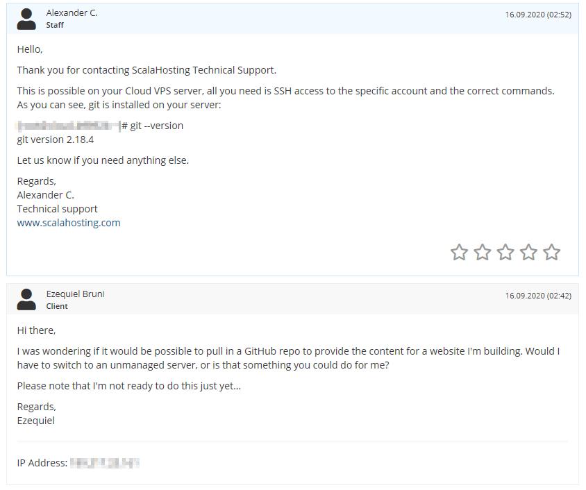 My ScalaHosting help ticket