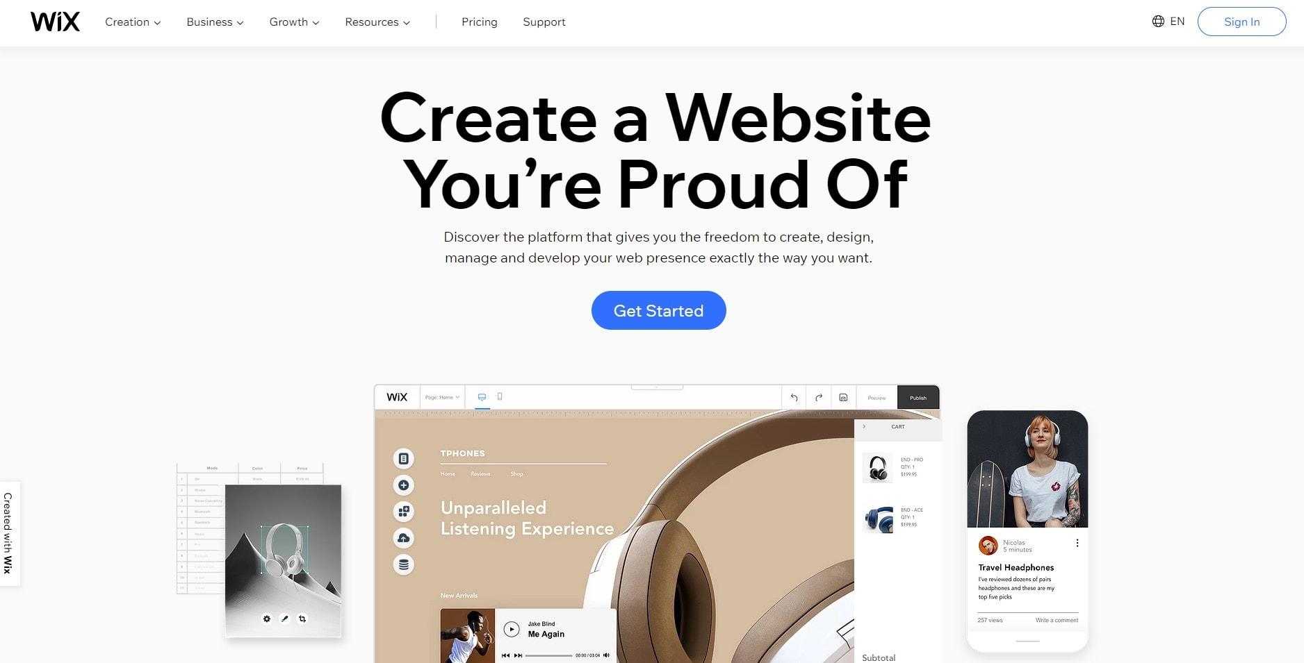 the wix.com home page