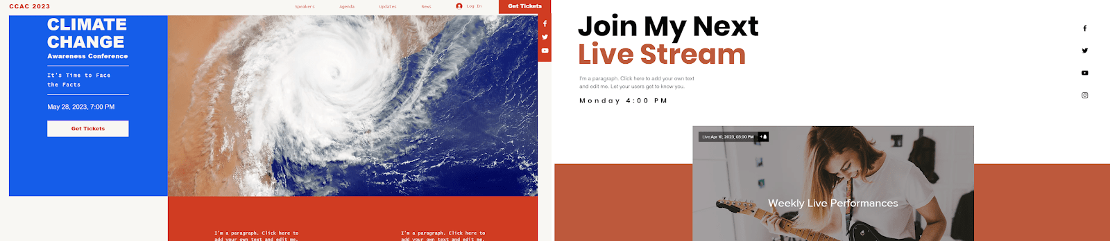Wix templates to avoid: Climate change conference and live music stream