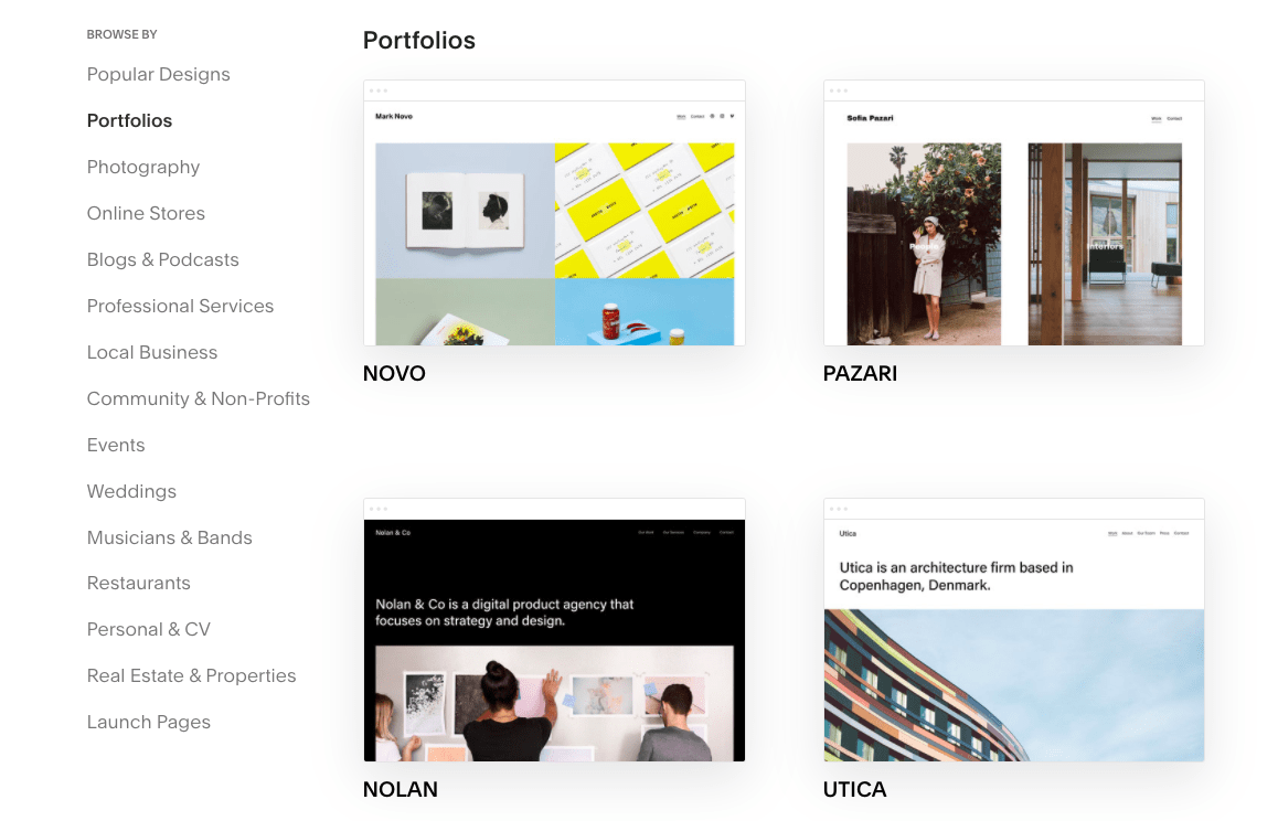 Squarespace portfolio templates