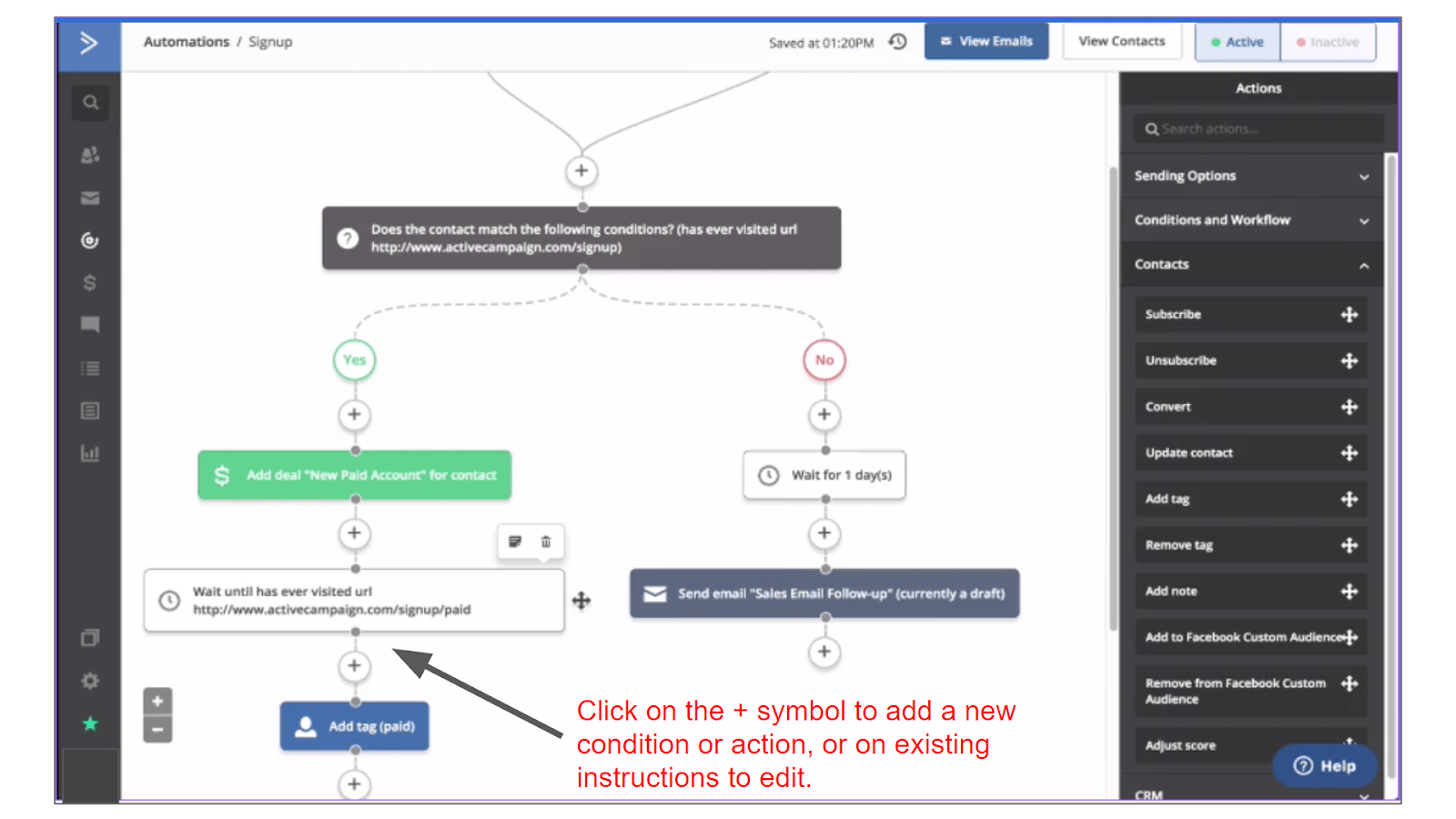 ActiveCampaign automation workflow editor.