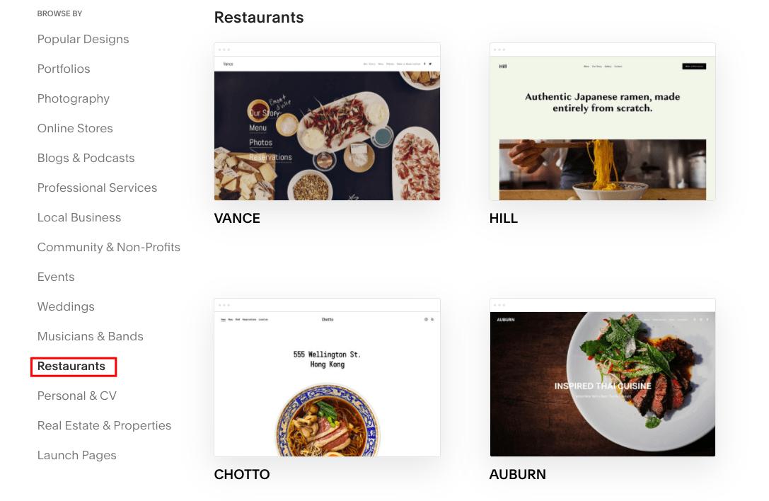 Squarespace website templates for restaurants
