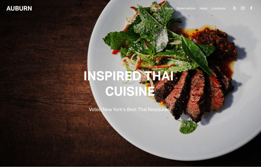 Auburn Squarespace website template for restaurants