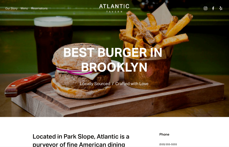 Atlantic Squarespace website template for restaurants