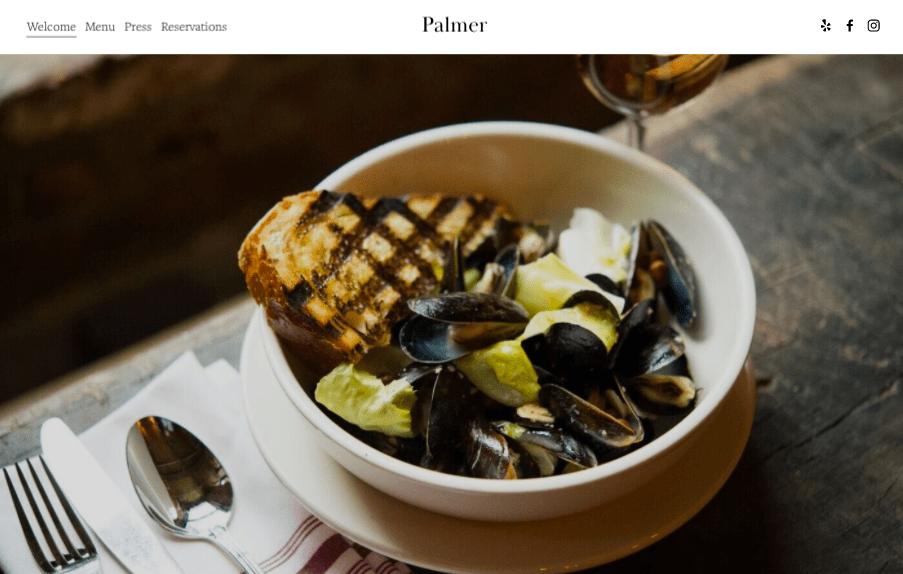 Palmer Squarespace website template for restaurants