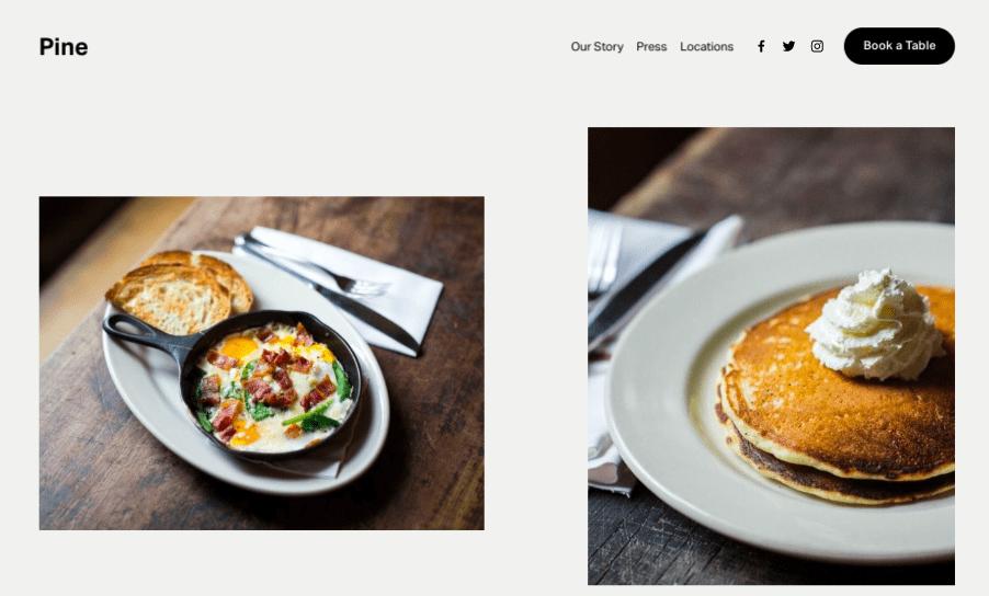 Pine Squarespace website template for restaurants