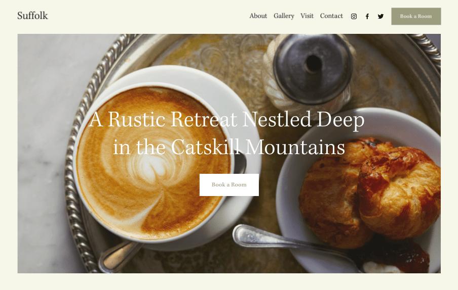 Suffolk Squarespace website template for restaurants