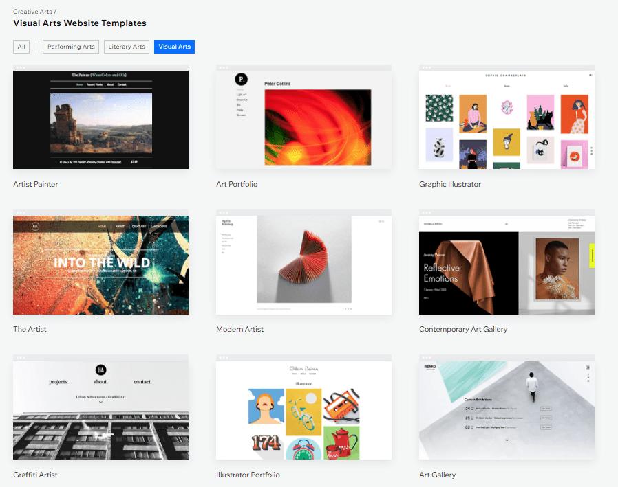Wix visual arts templates