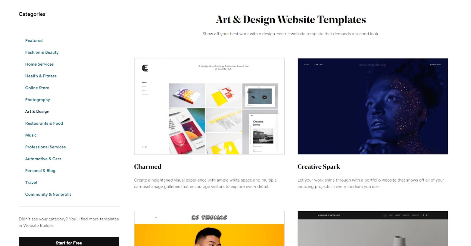 GoDaddy Art & Design templates