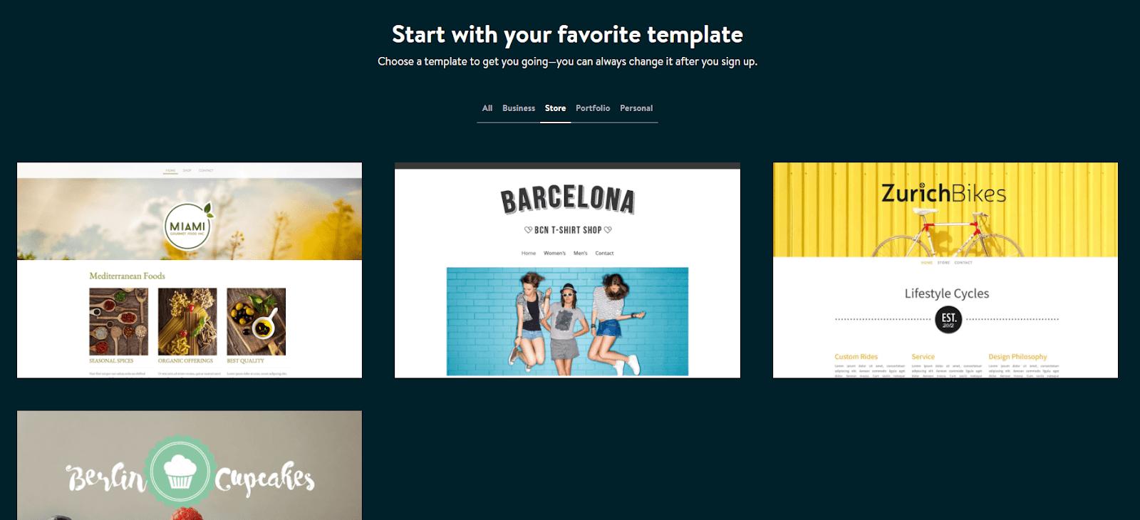 Jimdo store templates