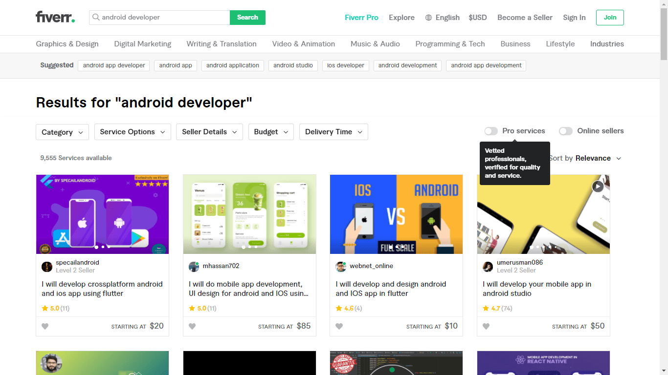 Fiverr screenshot - search results for 'android developer'