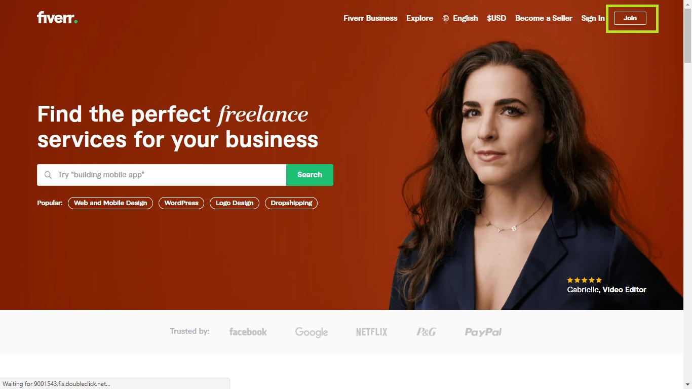Fiverr screenshot - Homepage join button