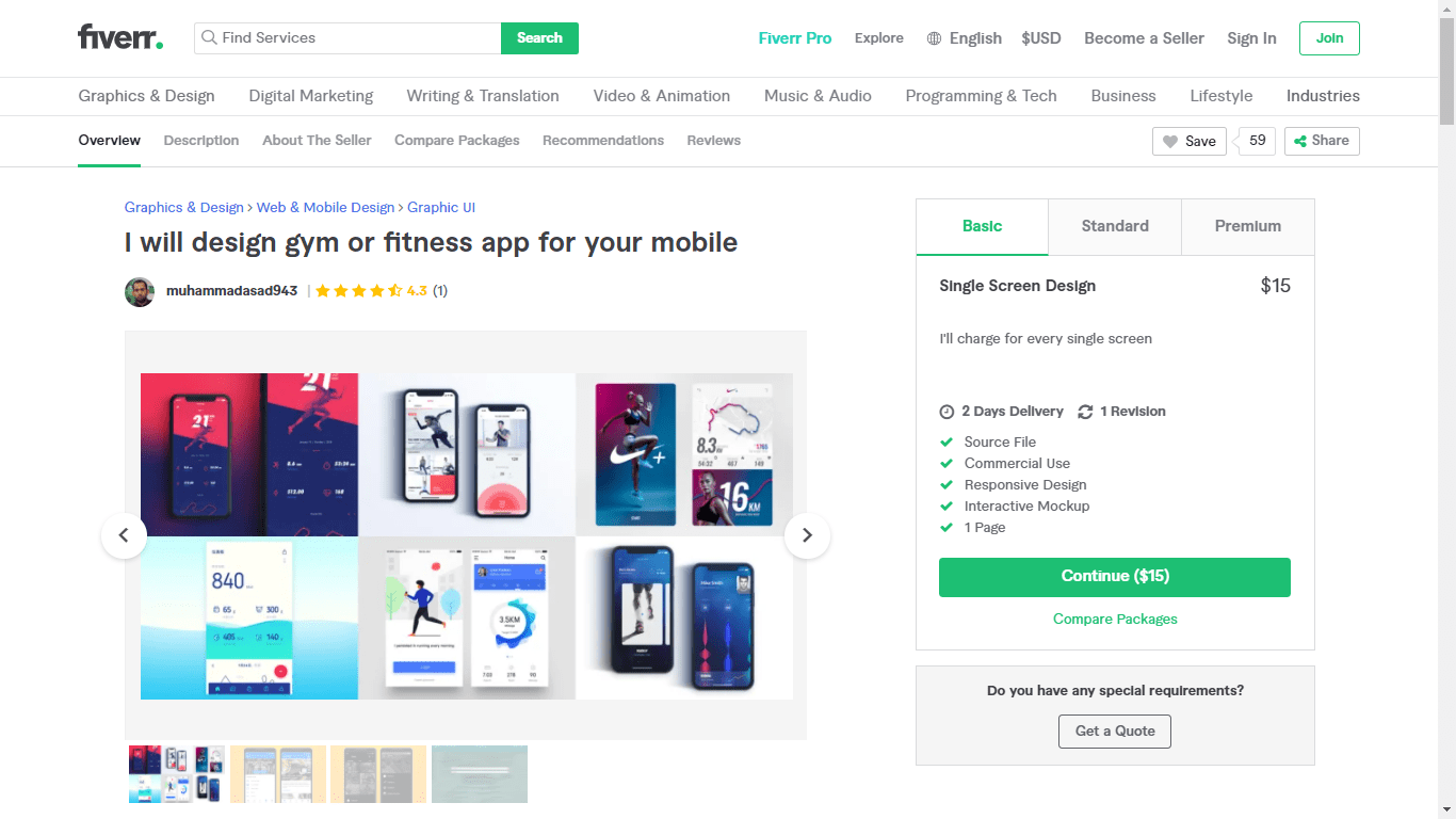 Fiverr screenshot - muhammadasad943 Android App developer gig