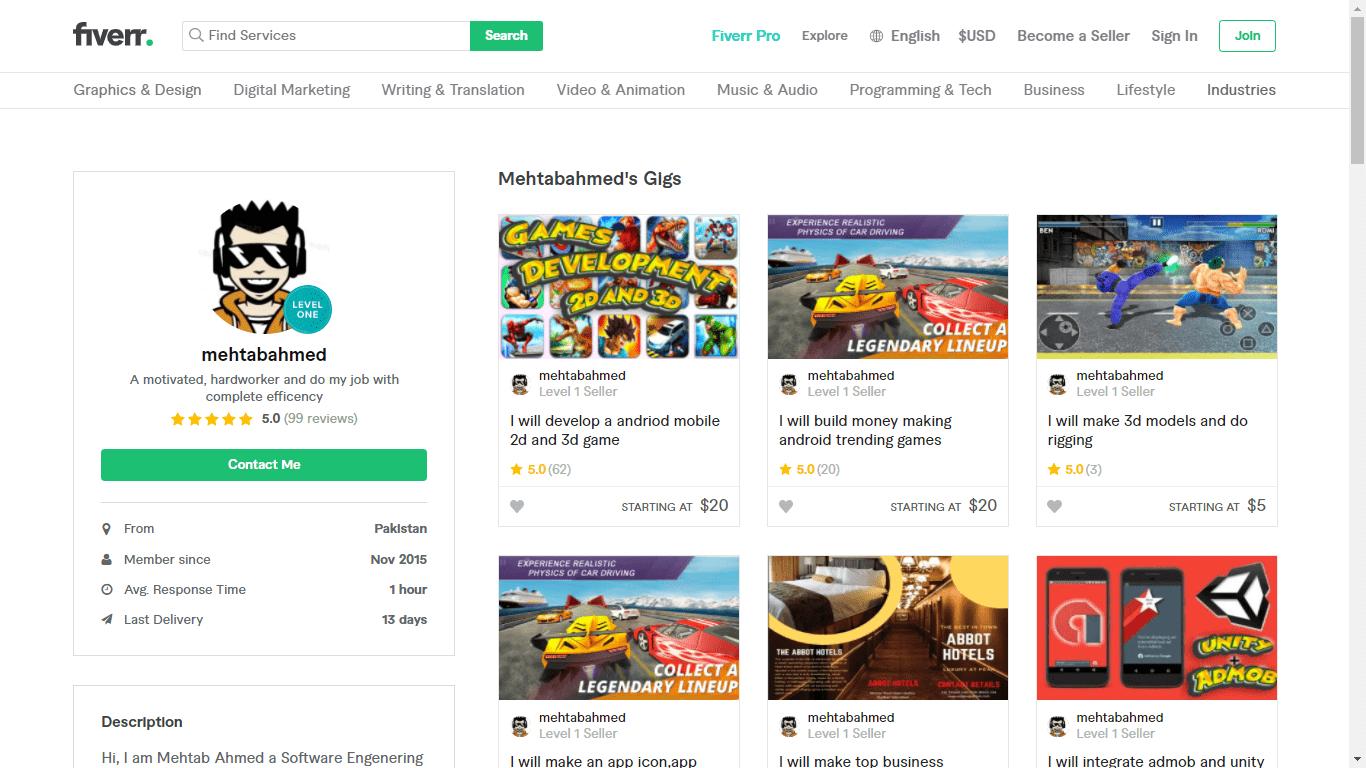 Fiverr screenshot - Mehtabadmen full profile