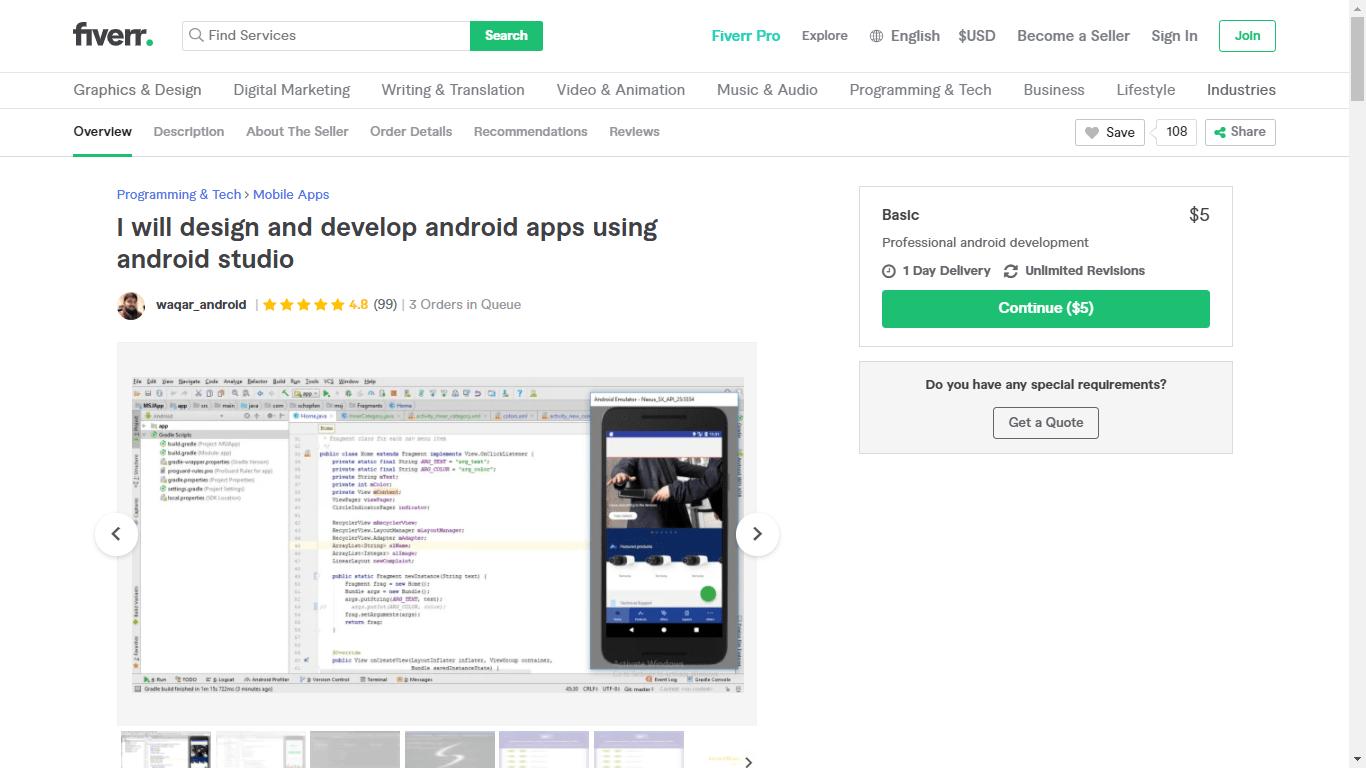 Fiverr screenshot - Waqar_Android app developer gig