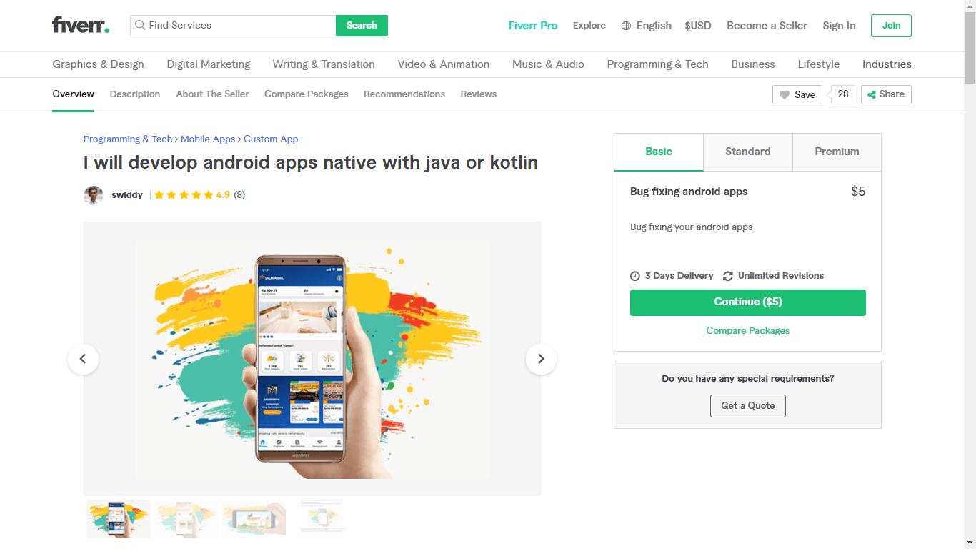 Fiverr screenshot - Swiddy Android app developer gig