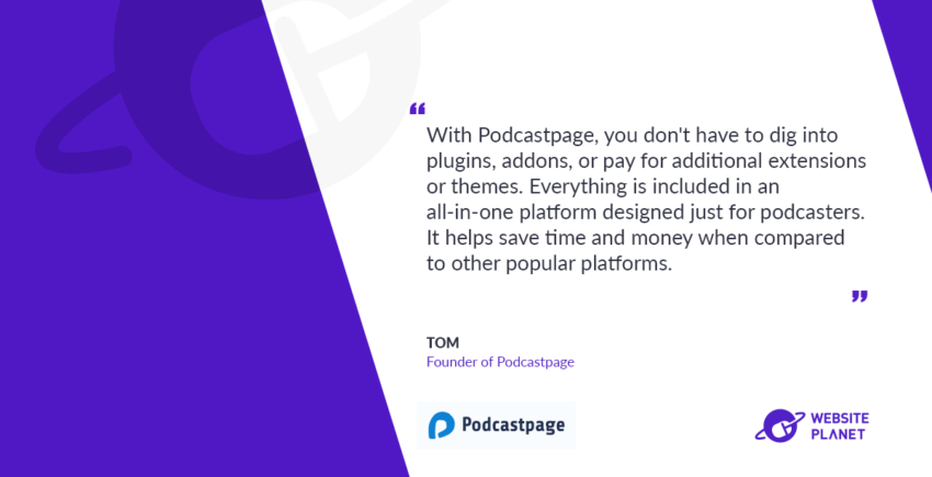 Podcastpage - helps you build modern and professional podcast websites in minutes, without coding