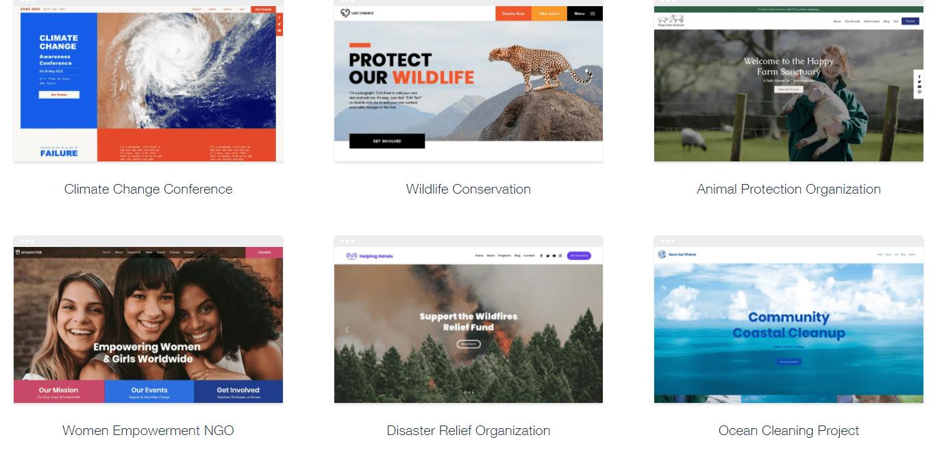 Wix nonprofit templates
