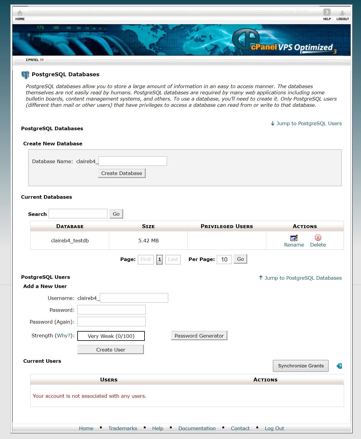 A2 Hosting PostgreSQL setup