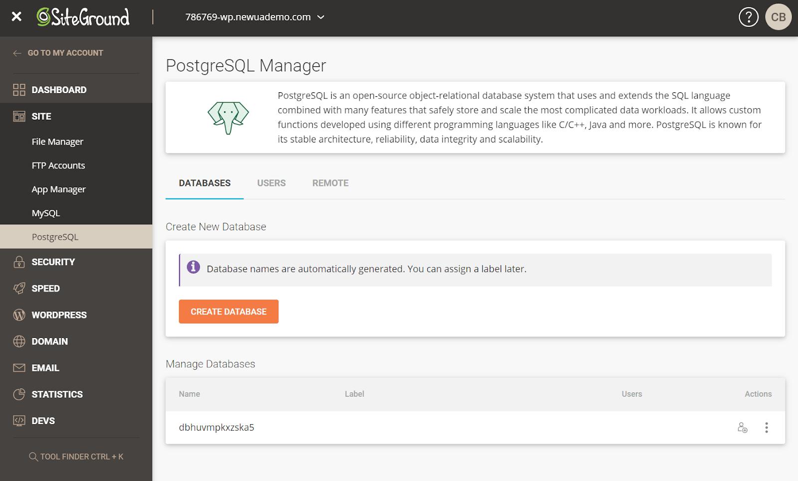 SiteGround PostgreSQL hosting