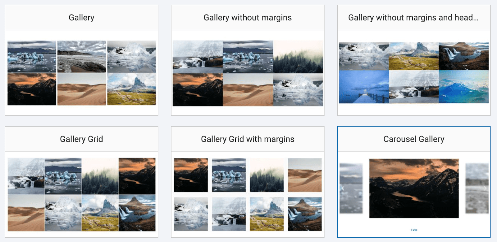 SITE123 gallery layout options