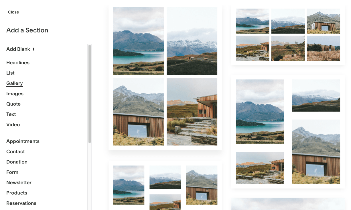 Squarespace photo gallery layouts