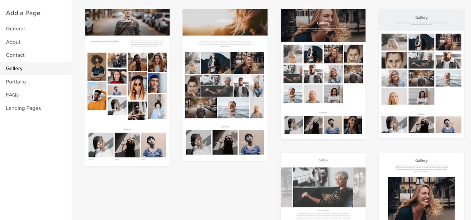 Pixpa photo gallery layouts