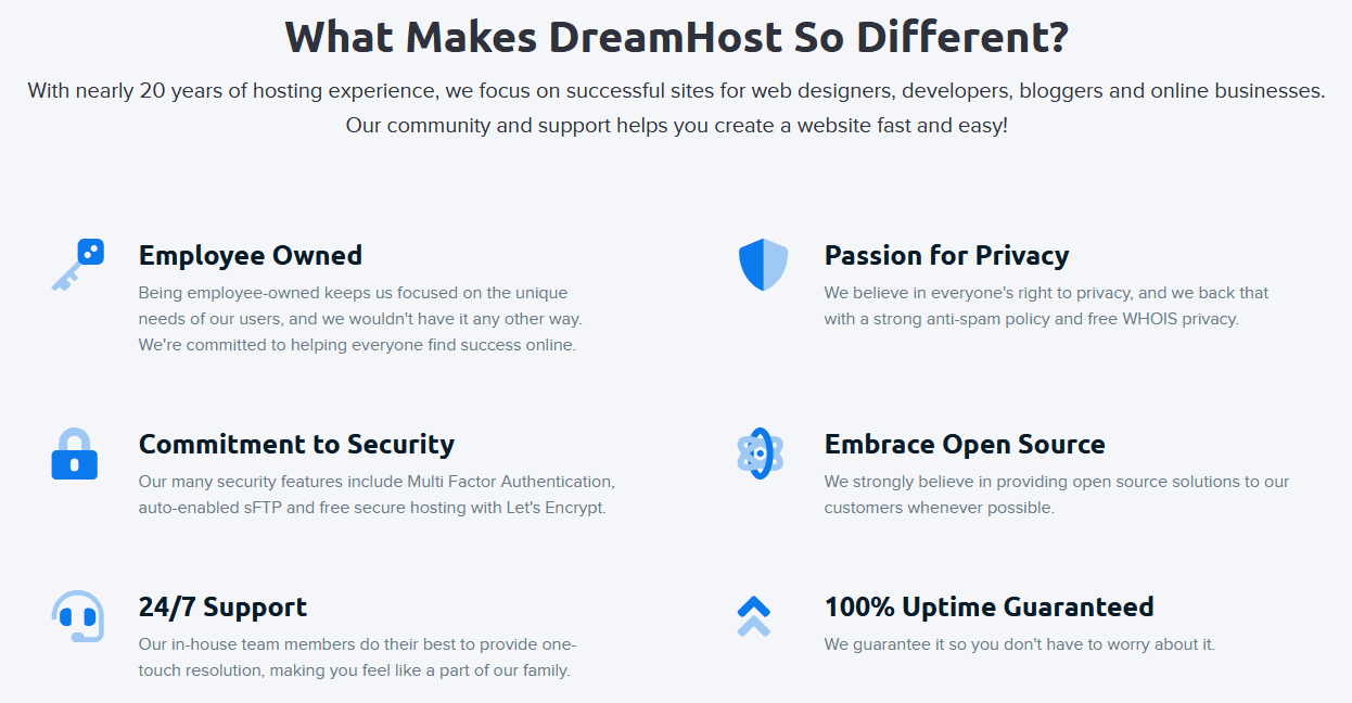 DreamHost Main Features