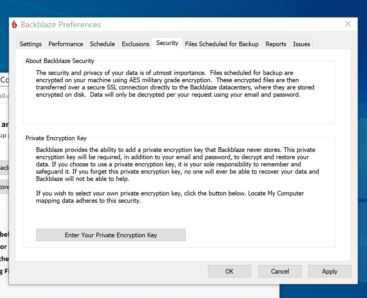 Backblaze security panel-set a PEK