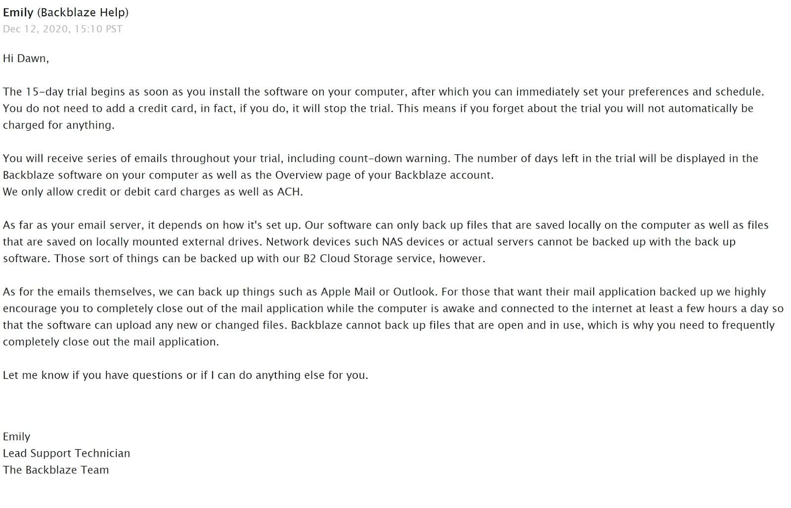 Backblaze email support response