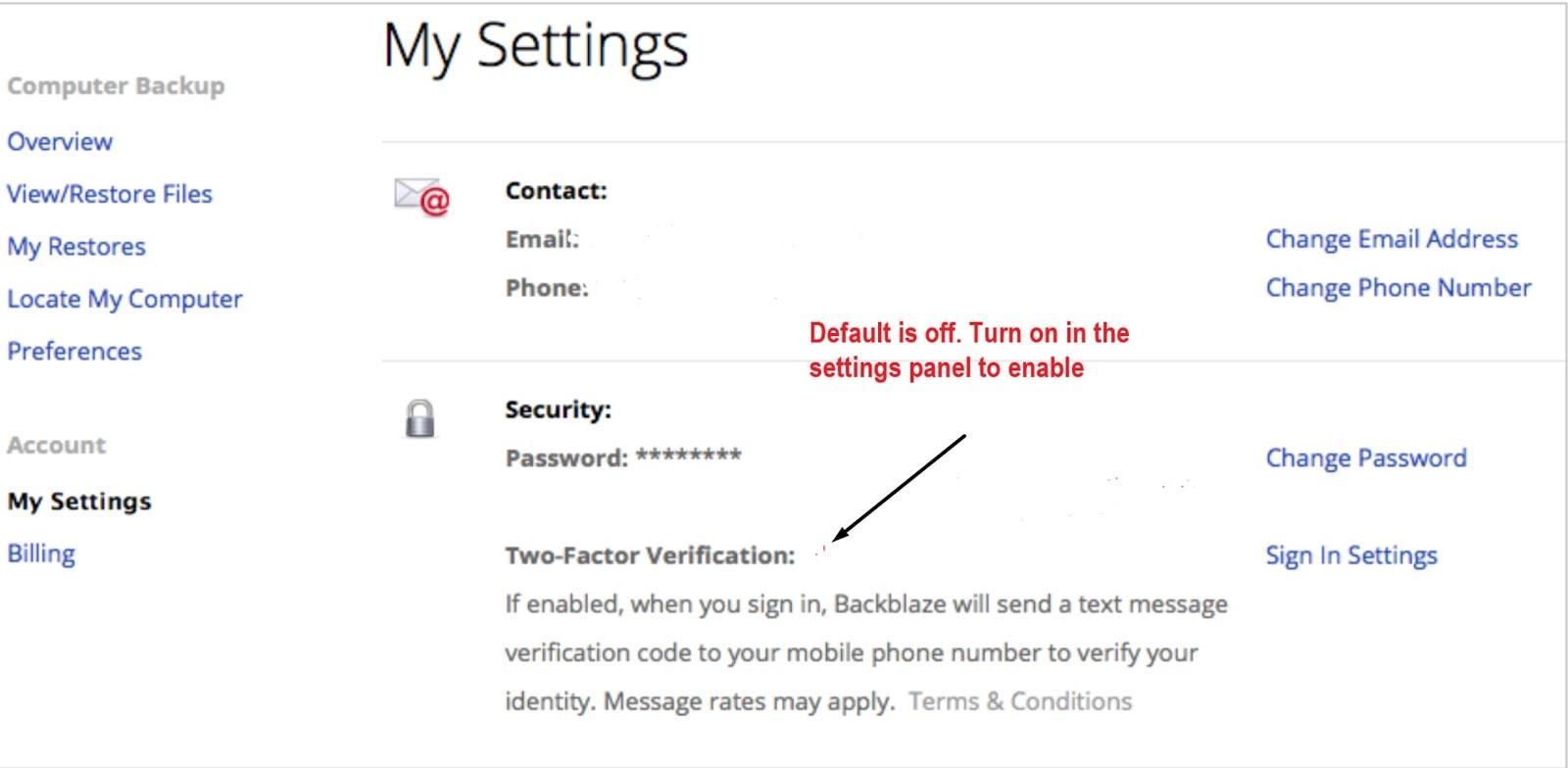 Backblaze account security settings