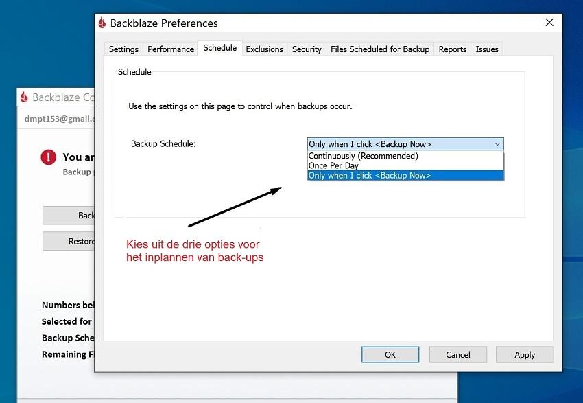 Backblaze scheduling panel