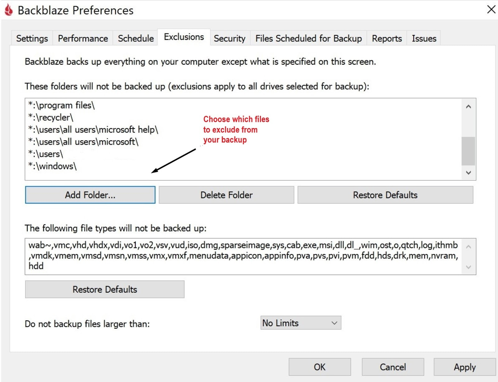 Backblaze preferences panel