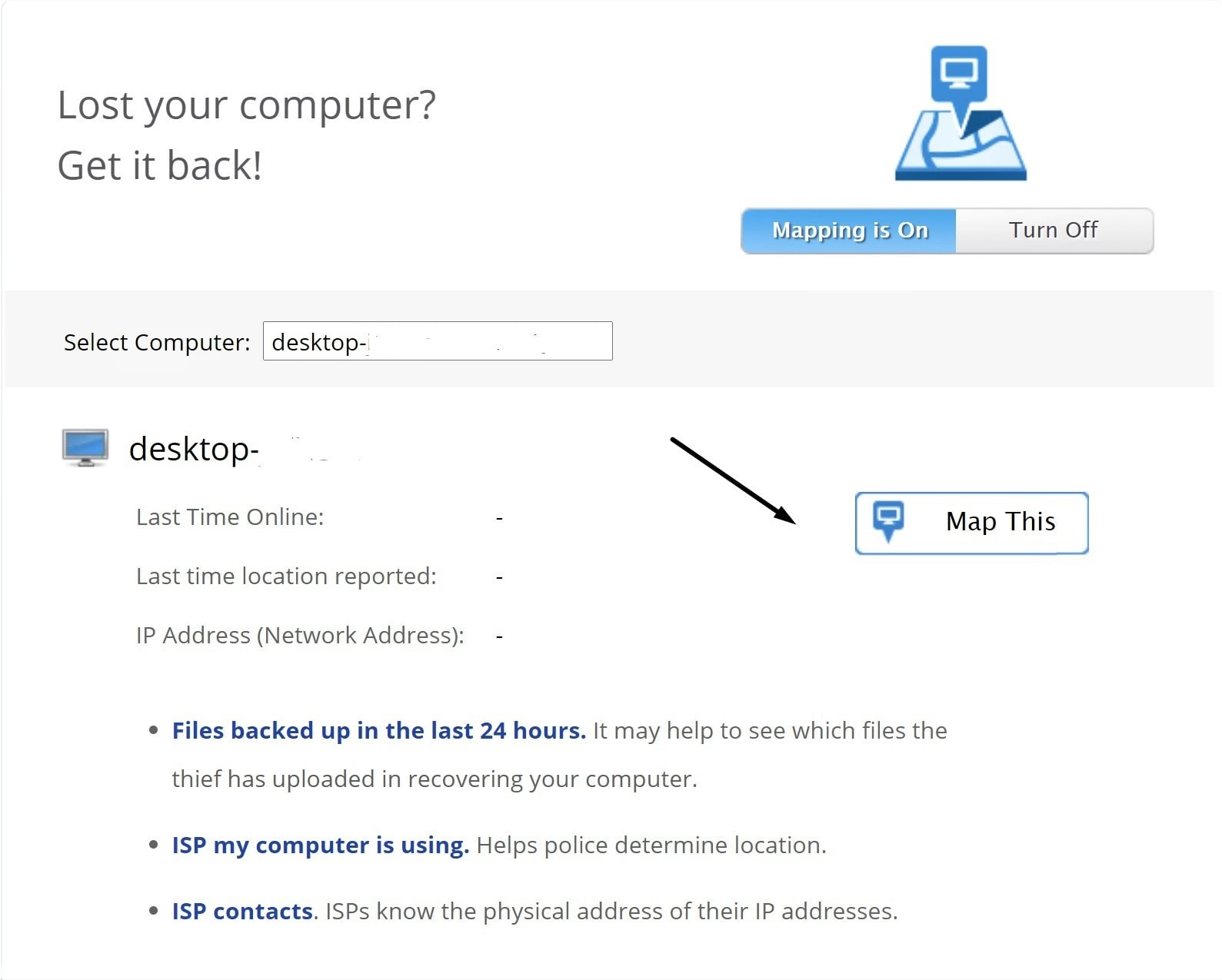 Backblaze find my computer feature