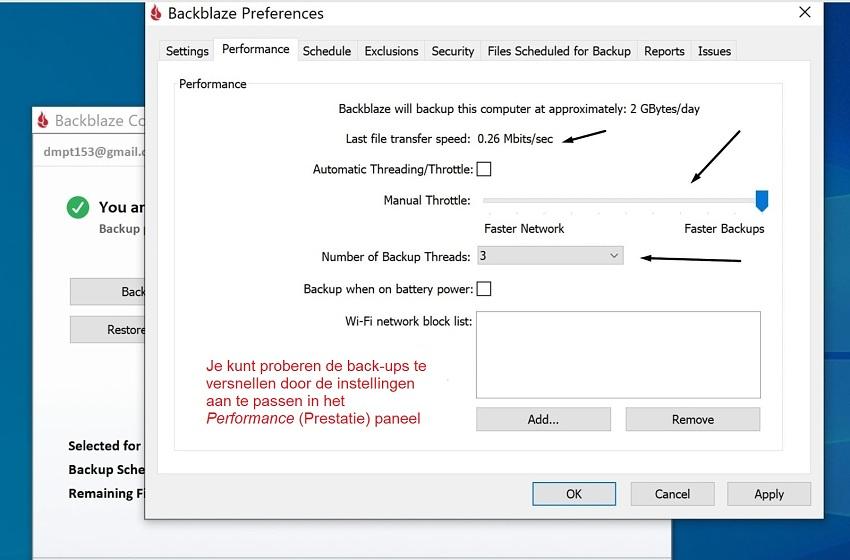 Backblaze threading and throttling settings