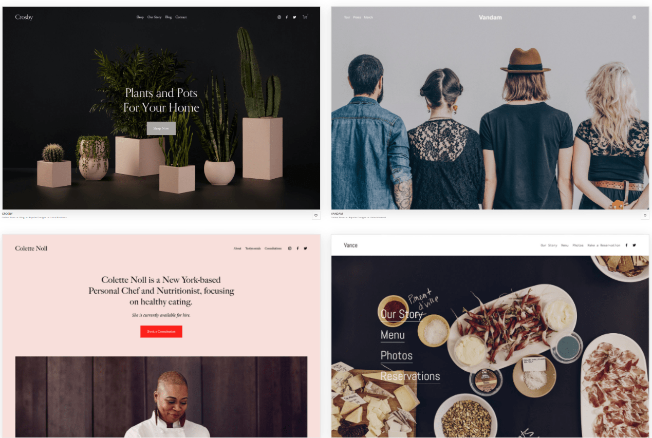 Squarespace templates available with all pricing plans