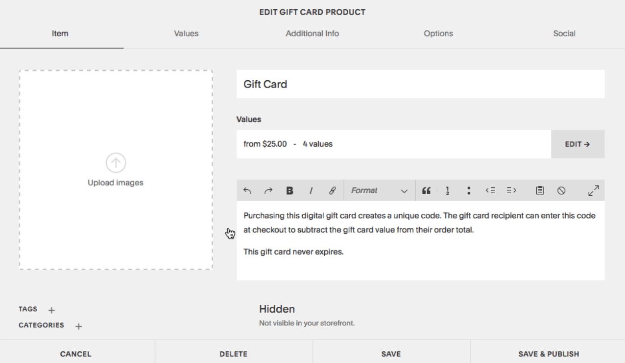 Creating gift card in Squarespace