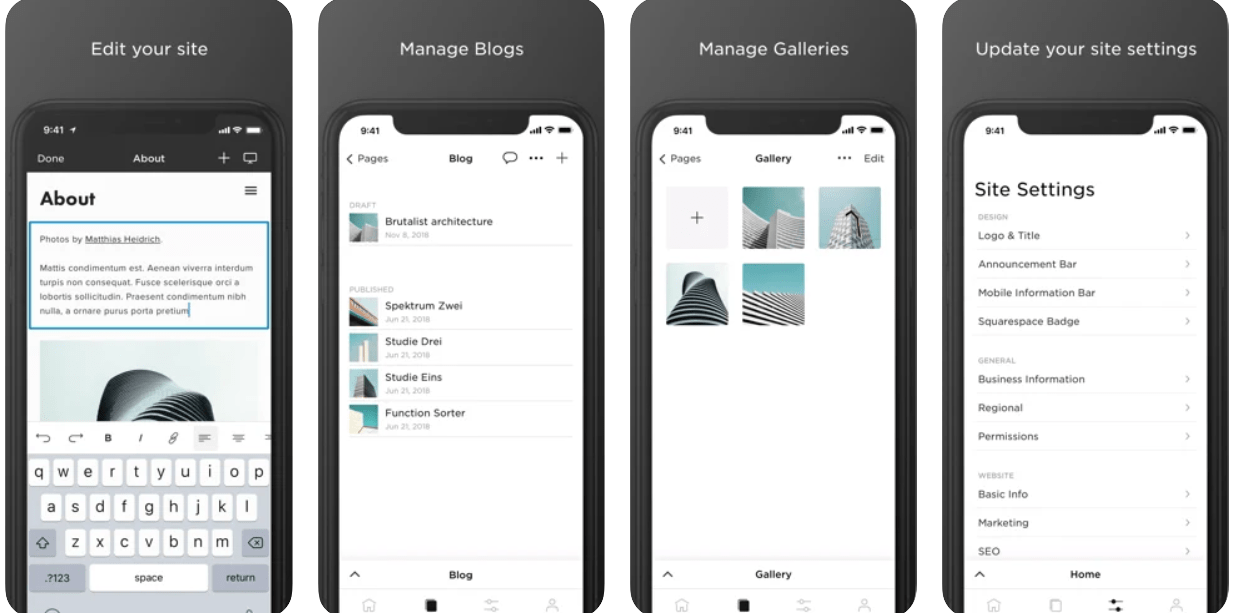 The Squarespace mobile app