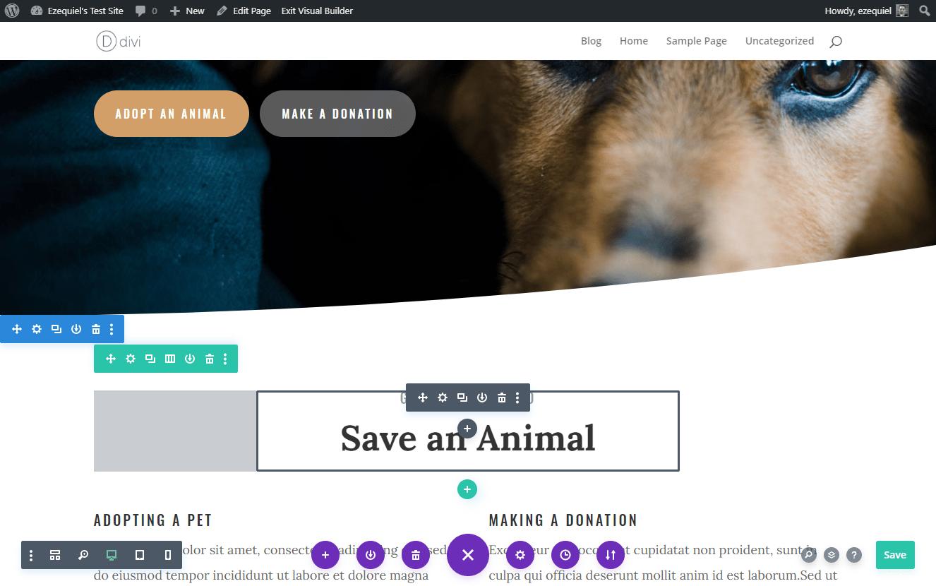 the Divi site editor