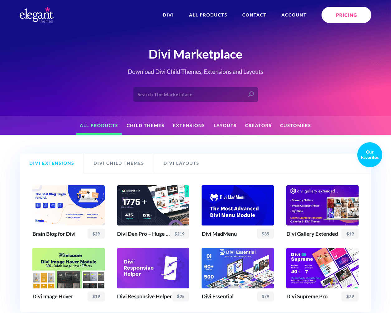 The Divi marketplace