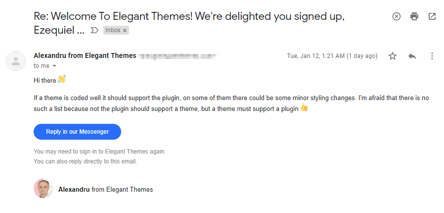 the email response I received