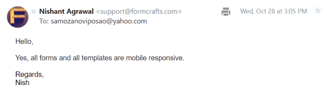 FormCrafts Email Support