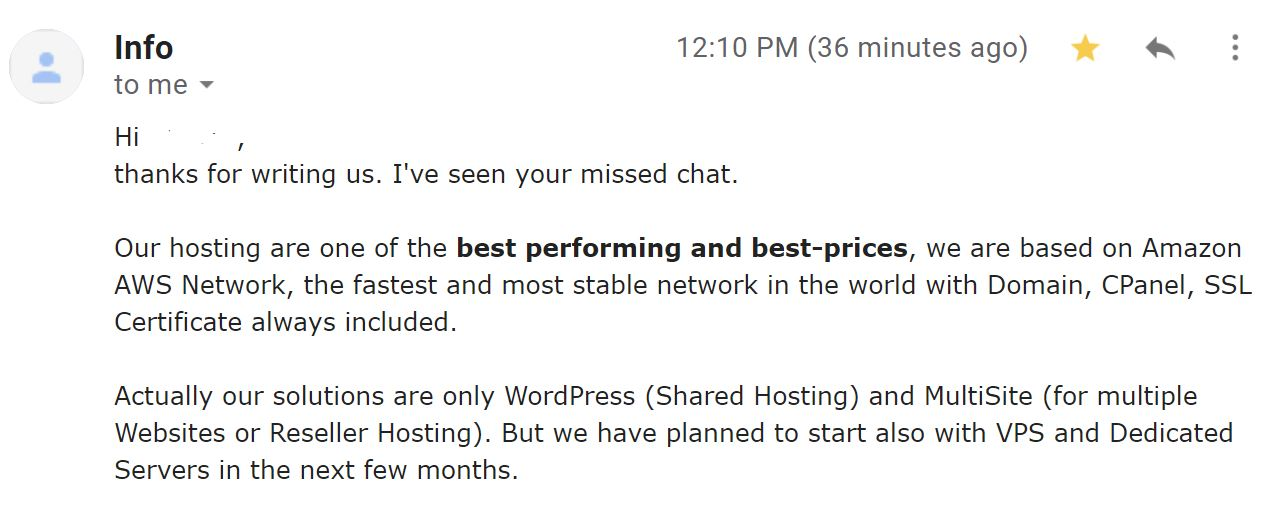 greenora hosting email