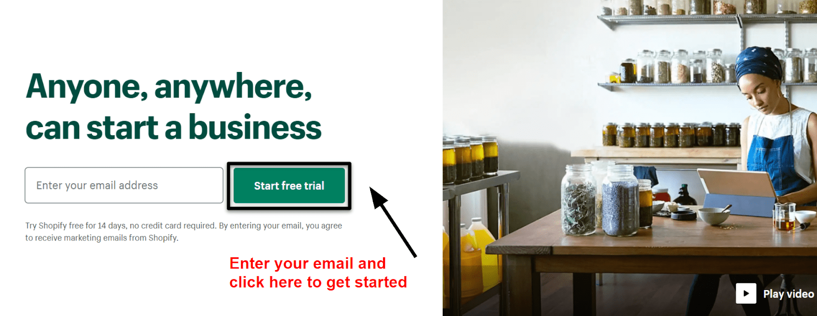 Shopify get started button