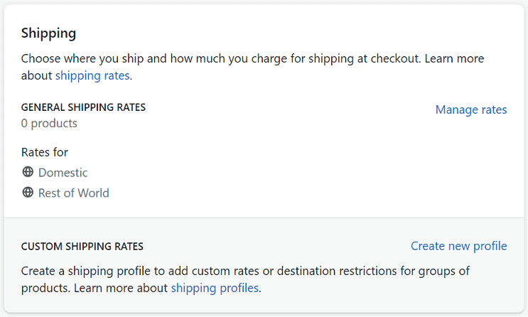 Set shopify shipping rates