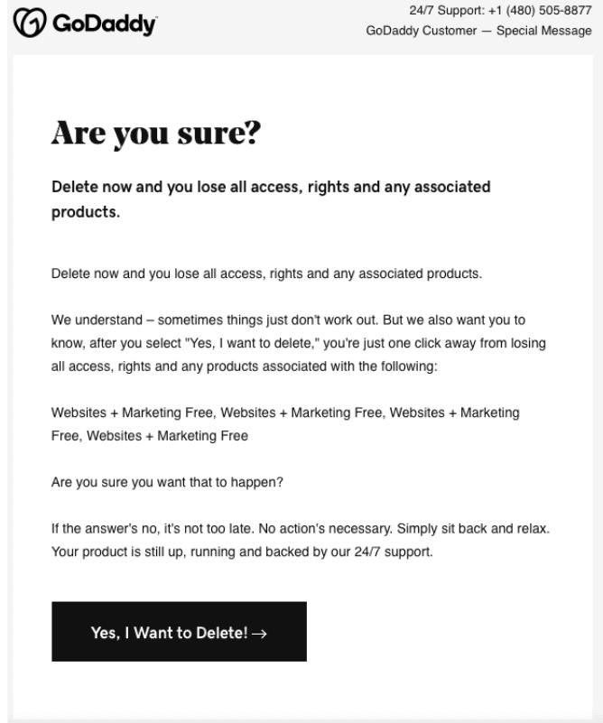 GoDaddy Account Deletion Email